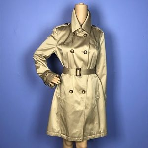 Michael Kors Tan Satin Belted Trench Coat